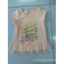 Lovely Baby T-Shirt Dress in Children Clothes with Net Fabric (SGT-002)