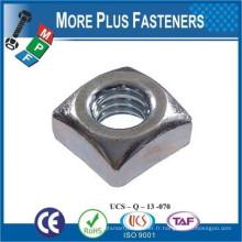 Fabriqué en Taiwan DIN 557 Écrou carré et autres noix carrées Acier au carbone Oxide noir Zinc plaqué Hot Dip Galvanisé