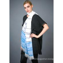 50%Polyester 50%Cotton Yarn Dye Scarf for Ladies′ Fashion
