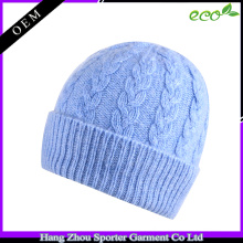 16FZBE01 winter cable knitted cashmere beanie women