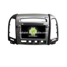Quad core! DVD de coche con enlace de espejo / DVR / TPMS / OBD2 para la pantalla táctil de 7 pulgadas de cuatro núcleos Sistema Android 4.4 Hyundai Santa Fe (bajo equipar)