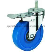Roues de roulette bleues de PVC de fil bleu de Biaxial de taille de 3inch avec le frein