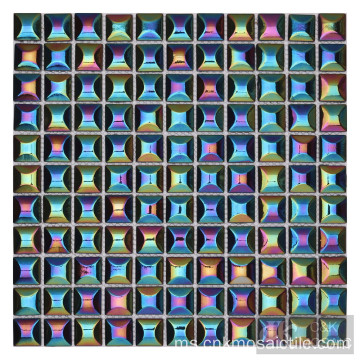 Bubble Iridescent Rainbow Colour Mix Glass Tile