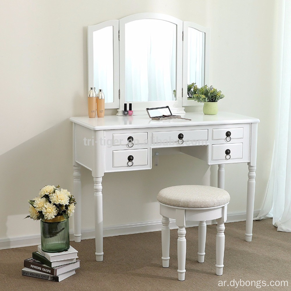 Vanity Set Tri-folding Mirror Make-up Dressing Table Cushioned Stool 5 Drawers White