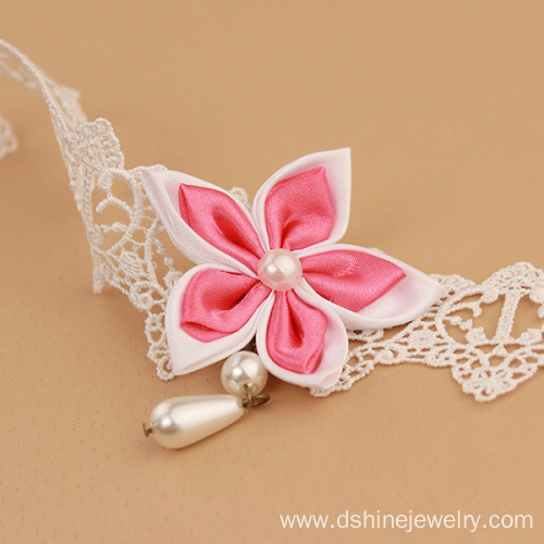 Cheap Lace Anklet Bracelet Ribbon Flower Drop Pearl For Lady
