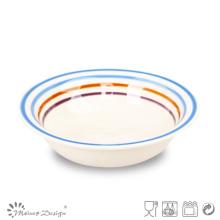 Placa de sopa de cerámica de círculo multicolor