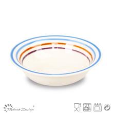 Multi-Color Circle Ceramic Soup Plate