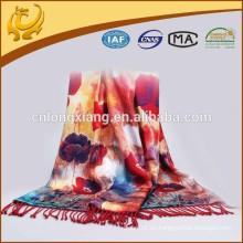 De moda de doble capa patrón impreso y rayas bufanda larga bufandas de colores para el invierno