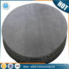 Disco de filtro sinterizado de acero inoxidable de 0.5 10 15 20 micras para filtro de agua de aceite