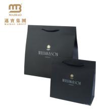 Saco de compras de papel luxuoso preto matte impresso de alta qualidade feito barato feito sob encomenda do custo com impressão feita sob encomenda do logotipo