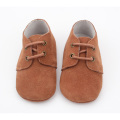 Reka bentuk Unisex Soft Suede Leather Shoelace Crib Shoes