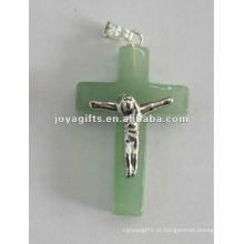 Tipo de pedra natural cruz pingente, verde Aventurina cruz Pingente anexar Jesus corpo