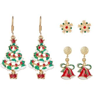 Christmas Drop Earrings Women Girls Fashion Simple Holidays Dangle Ear Rings Jewelry Set