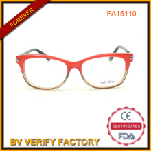 High Quality Red Color Acetate Optical Frames with Deco for Ladies Wholesale (FA15110)