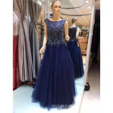 2017 Wunderschöne ärmellose dunkelblaue Spitze High End Tüll lange wulstige Muster Appliqued A-line Abendkleid
