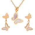 Inox 316L acier inoxydable papillon bijoux Set mariage accessoires 18K or boucles d'oreilles coquille bijoux ensemble