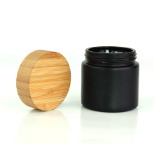 6oz matte black glass pepper powder jar screw bamboo lid