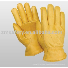 Golden cowhide leather driver glove