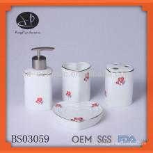 heart shaped ceramic bath set