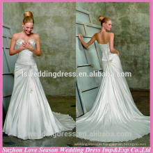 WD1811 Strapless sweetheart neckline sleeveless gathered top beaded patterns on bodice train a-line strapless wedding gown