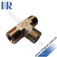 Conector hidráulico masculino do tubo do adaptador do T de Bsp encaixe hidráulico (AB)
