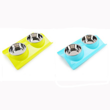 Pet Double Plastic Bowl Dog Drink Bowl