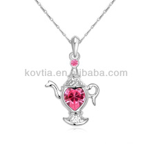 2014 nouveau design en argent plaqué bijoux en théière pendentif collier