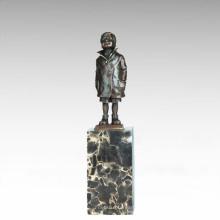 Kinder Figur Statue Little Boy Kind Bronze Skulptur TPE-743