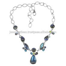 Лабрадорит И Мульти Драгоценных Камней 925 Чистого Серебра Ожерелье