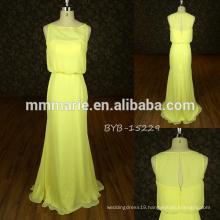 China wholesale yellow off shoulder chiffon lace A Line bridesmaid evening dress