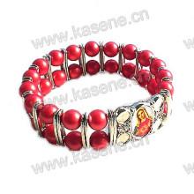 Vermelho, vidro, grânulos, liga, folha, religioso, bracelete