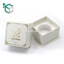 Fashion design white environmental EVA insert fancy paper stamping logo perfume bottle gift box