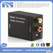 Digital coaxial Toslink sinal analógico L / R RCA Audio Converter