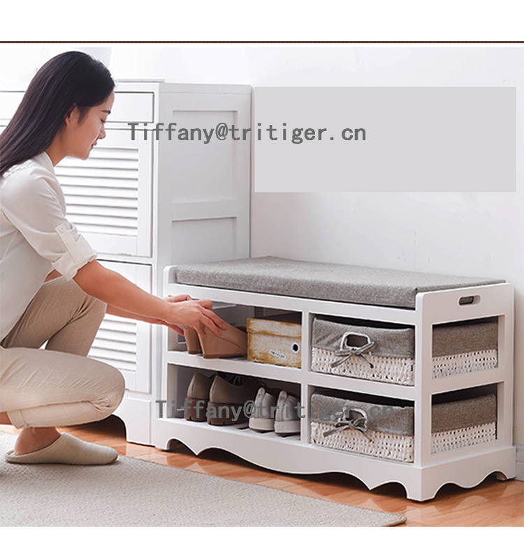 Factory Distressed Wood Shoe Cabinet for Home Furniture
