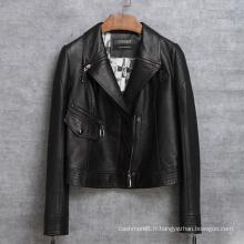 Nouvelle veste de moto design en cuir véritable Veste courte femme