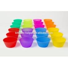 12pcs o 24pcs una cocina casera colorida del grado del alimento de la hornada DIY Tools antiadherente resistentes al calor flexibles silicona suave mini tazas del mollete