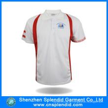 T-shirt branco liso feito sob encomenda barato da polo da impressão dos homens para esportes