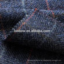 Blauer Check Lammfell Tweed Flanell Hut Stoff bereit Lager