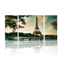 Pintura de la lona de la torre Eiffel de París / arte de la lona para la decoración de la pared / arte de la pared de la lona del Multi-panel