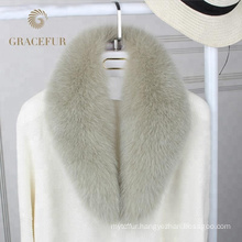 Excellent fast supplier detachable big real fox fur collar luxury