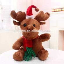 Juguetes de felpa nuevos Juguetes de peluche de renos de Navidad con bufanda