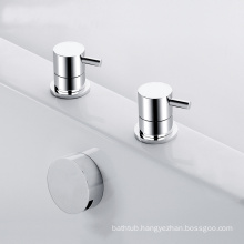 Deck mounted 2 hole bath mixer waste with inflow function
