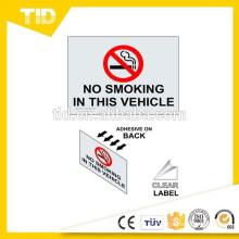 Não fumar nesta etiqueta de veículo, rótulo reflexivo