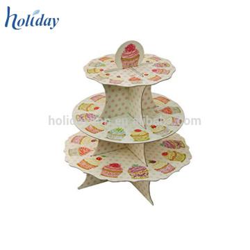 Support de gâteau de décalage de 3 niveaux, support de gâteau de carton, Standee de Tableau pour le gâteau