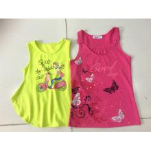 Ropa de niños de moda en chaleco sin mangas de la camiseta de la muchacha (SV-021-026)