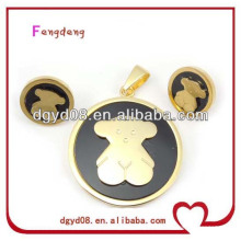 2013 Fashion Bear Design earring and pendant set,stainless steel set, high quality jewelry set