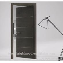 Flush wood door design with aluminum strips decoration