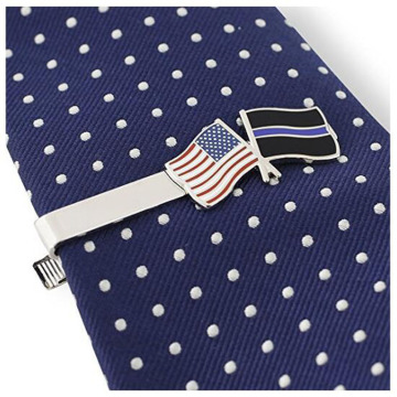 Thin Blue Line Police American Flag Tie Clip