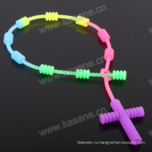 Радуга Цветной шнур Розарий Браслет / 6 мм Разноцветный Пластиковый Резиновый Бусина Религиозный