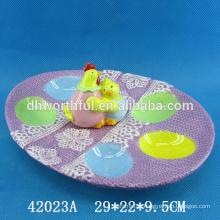 Easter craft ceramic egg holder ,ceramic cock plate for egg